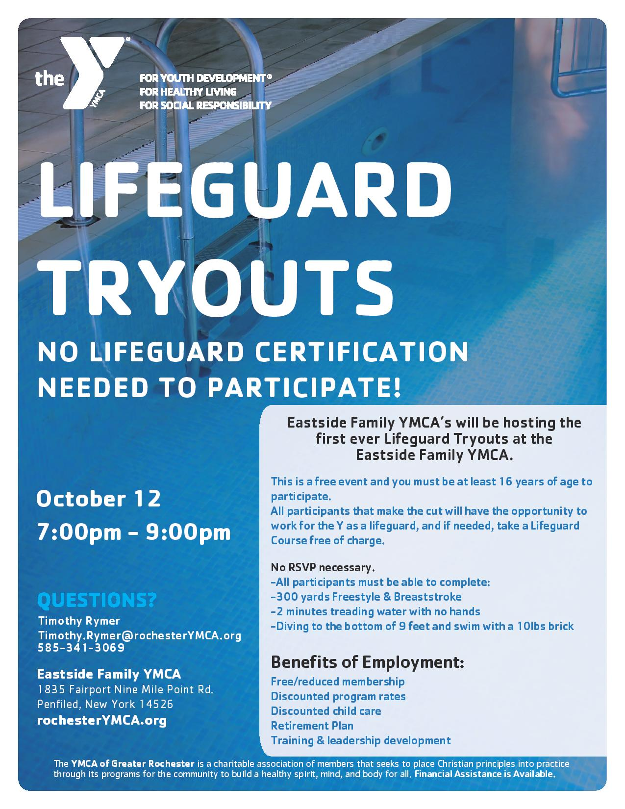 ymca lifeguard tryouts